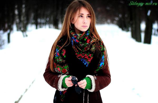 Как носить дубленку с платком фото