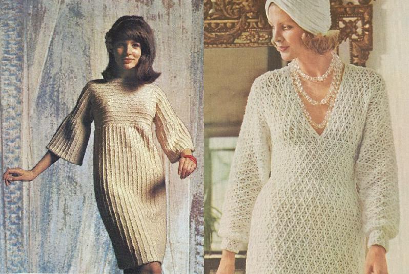 винтажное вязаное платье