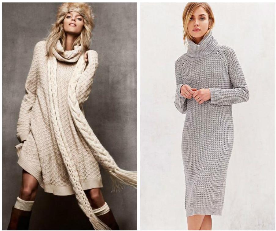 Модные вязаные платья 2018-2019 фото
