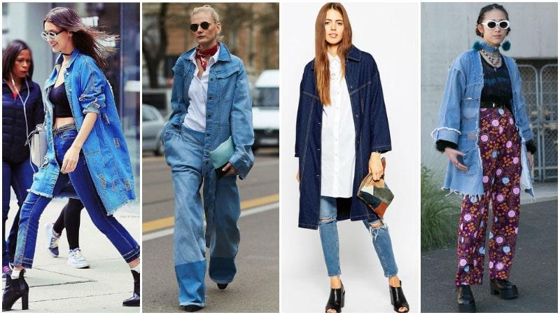 С чем носить длинную джинсовую куртку