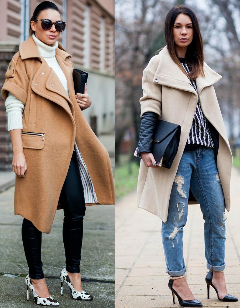 С чем носить пальто с воротником