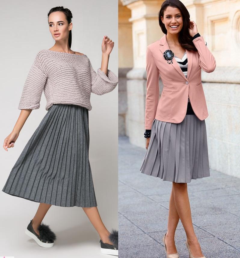 С чем носить серую юбку плиссе