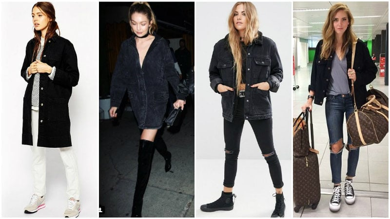 С чем носить черную джинсовую куртку