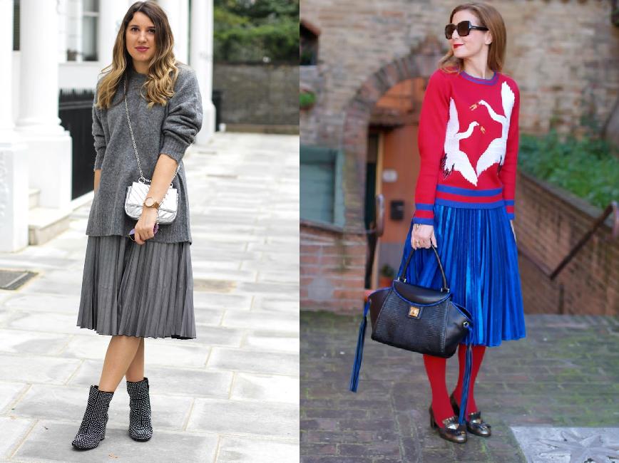 Как носить юбку плиссе с толстовкой