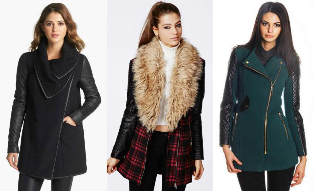 Пальто с кожаными рукавами