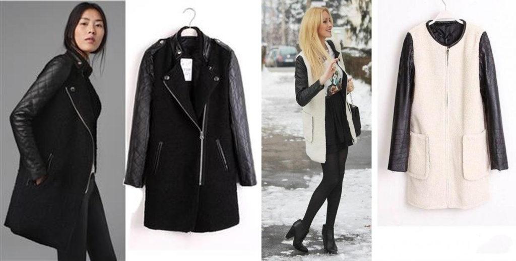 Пальто со стеганными кожаными рукавами