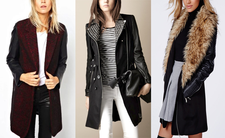 Дорогое пальто с кожаными рукавами