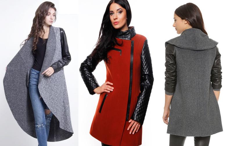 Модели пальто с кожаными рукавами