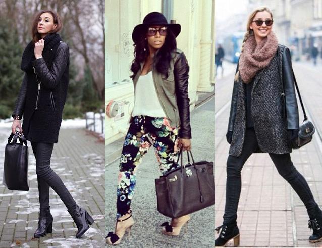 Модный лук с пальто с кожаными рукавами