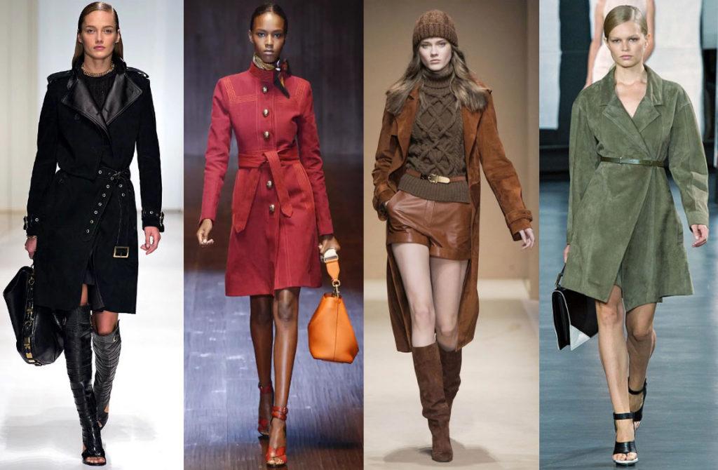 Замшевое пальто на модели
