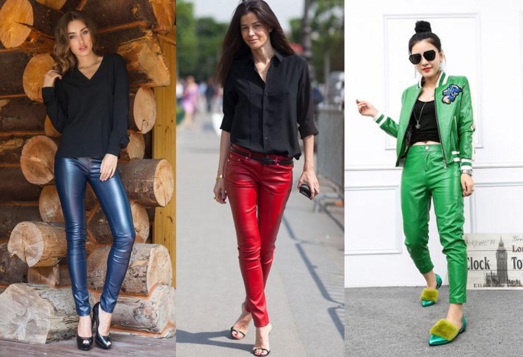Синие, красные и зеленые кожаные брюки