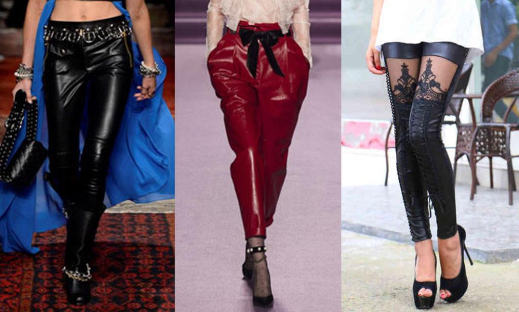 Кожаные брюки с декором
