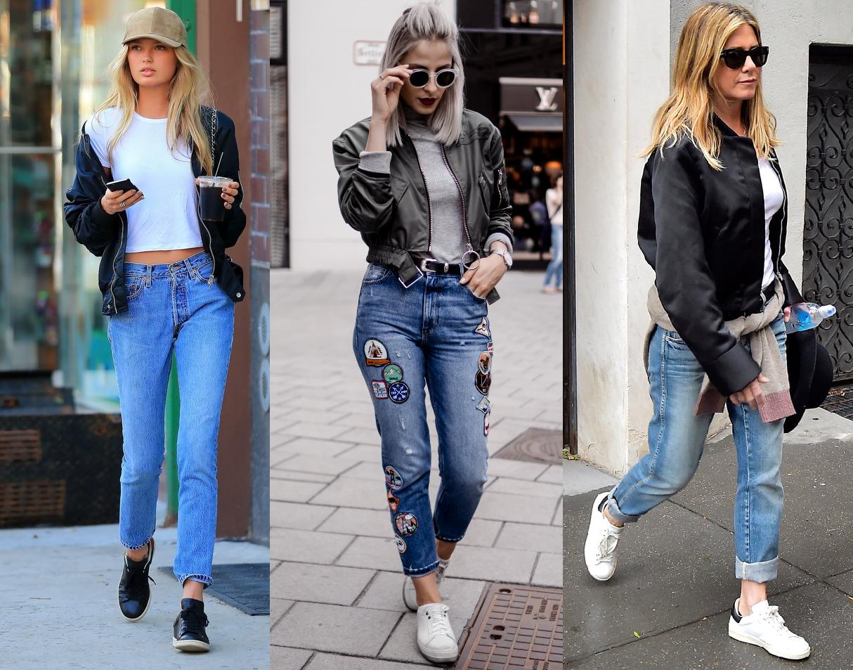 Как носить бомбер с джинсами