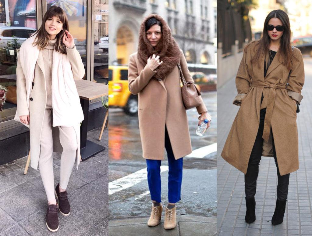 Пальто из верблюжьей шерсти на модели