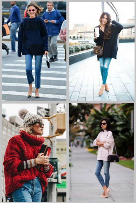 Как носить свитер с джинсами