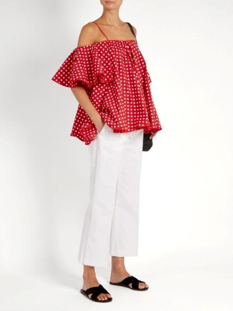 с чем носить блузку в горошек фото 2